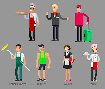 character of people: Profession people. Detailed character professionals . Illustration of character Profession people. Vector flat Profession people