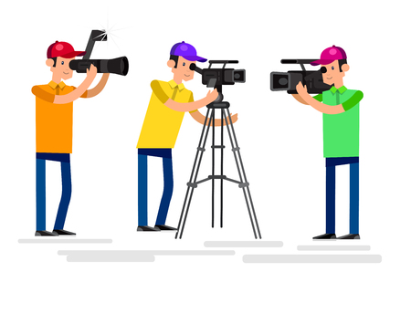 video shooting: cool detailed character Photographer and videographer with camera photographs. Vector Photographer and videographer . Illustration Photographer and videographer set