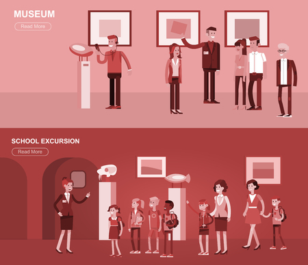 extensive: Funny character people in museum. Archeological museum of antiquity and natural science museum exposition for children, museum guided tour, exhibition space, museum audioguide, museum flat banner Illustration