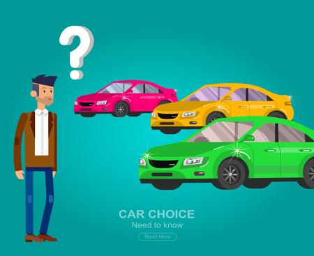 concept van keuze auto en het kopen van een auto. Vector auto, auto koel vlak, auto illustratie. Vector gedetailleerde karakter koper man, cool flat illustratie. Web banner template