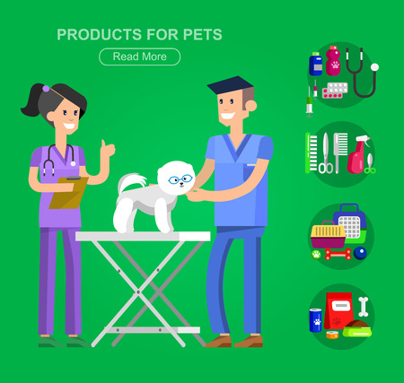 grooming: high quality character design veterinarian with dog, pet shop. veterinary Pets accessories and vet store, grooming tools, Veterinary pharmacy,