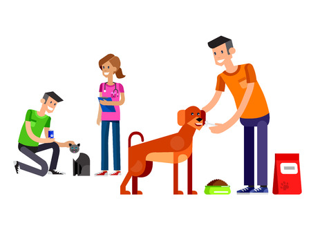 veterinary care: Vector detailed character Volunteer design concept with woman Volunteer and a man Volunteer  feed dog and cat, Volunteer veterinary care for homeless animal Illustration