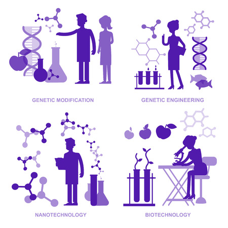 industry icons: Detailed character men woman scientis, laboratory technician scientis looking through a microscope, Biotechnology scientis, genetic engineering scientis, nanotechnology