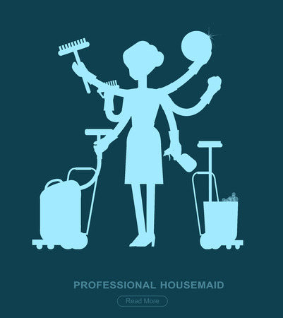 housekeeper: Poster design for cleaning service and supplies. Vector detailed character professional housekeeper. Cleaning kit icons