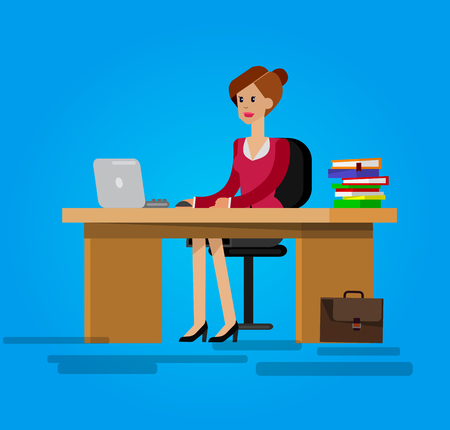 woman standing back: Vector detailed character corporate Office worker, business team people sitting behind desk. Office workers. Men and women office worker. Office worker cool flat  illustration Illustration