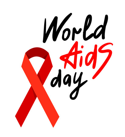 carefulness: World AIDS Day. 1st December World Aids Day poster with with calligraphic text AIDS Day . Vector AIDS Day illustration