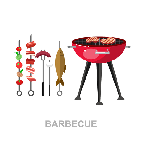 family picnic: Vector character people on Family picnic or Bbq party. Food and barbeque, summer and grill. Vector barbeque party, illustration barbeque party Illustration