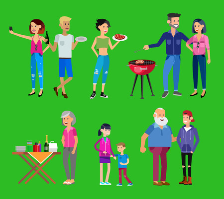 family picnic: Vector character people on Family picnic or Bbq party.