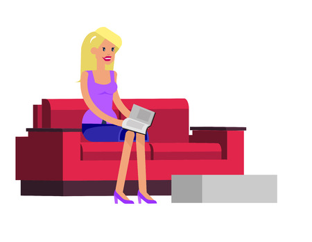 manicurist: Vector detailed character beautiful blond woman sitting on the couch, waiting at the reception. Template for beauty saloon, cool flat  illustration isolated on white background.