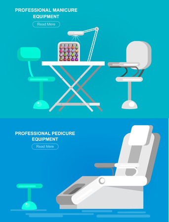 pedicure set: Professional equipment for beauty salon, chair for manicure and table for the pedicure. Detailed  interior set.  Web banner template  for beauty saloon