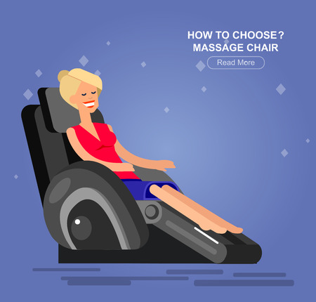 cartoons television: Vector detailed character Woman buy massager  and relax in massage chair, cool flat  illustration Illustration