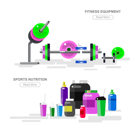 fitness equipment: Gym design concept with with fitness equipment and sports nutrition, cool flat  illustration. Web banner template isolated on white background.