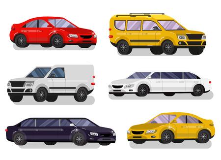 limousine: Stylish flat Car. Transport car Symbols collection, limousine black and white, family car, sedan car and truck. Vector car
