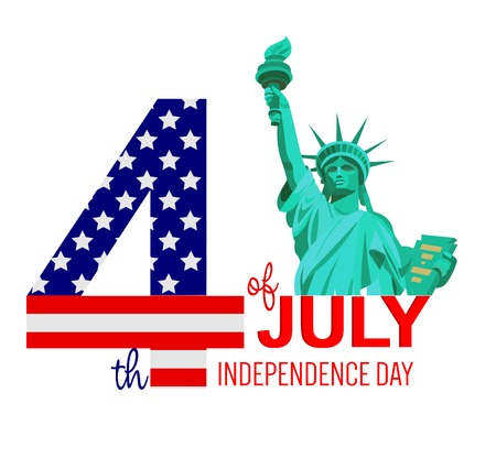 fourth of july: Fourth of July poster. Independence Day USA. Fourth of July card with USA flag. Fourth of July illustration