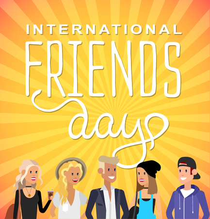 Group of happy friends with Friends day title. Cartoon hand drawn illustration for Friends day. Friends day card Illustration