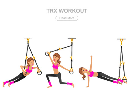 sporty: Vector detailed character Fit woman and TPX training. Happy and sporty woman illustration. Woman goes in for sports, TPX training for Woman