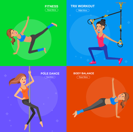 yoga outside: Vector detailed character fit woman and fitness workout. Happy and sporty woman. illustration. Woman goes in for sports, training for Woman