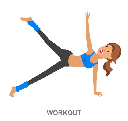 sports training: Vector detailed character fit woman and fitness workout. Happy and sporty woman. illustration. Woman goes in for sports, training for Woman