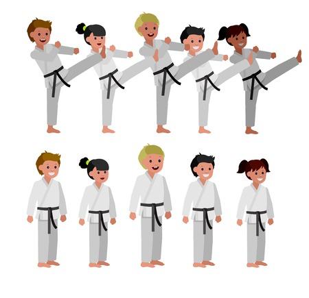かわいいベクトル文字の子。格闘技ポスター用イラスト。子供着物・空手トレーニング。ベクトル楽しい子。子供とスポーツのイラスト。子供空手