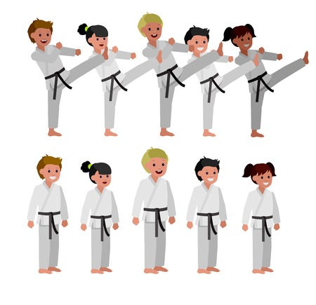kid art: Cute vector character child . Illustration for martial art poster. Kid wearing kimono and karate training. Vector fun child. Illustration of Kid and Sport. Child take karate fighting pose