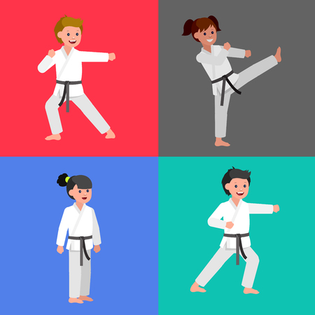 girl fist: Cute vector character child . Illustration for martial art poster. Kid wearing kimono and karate training. Vector fun child. Illustration of Kid and Sport. Child take karate fighting pose