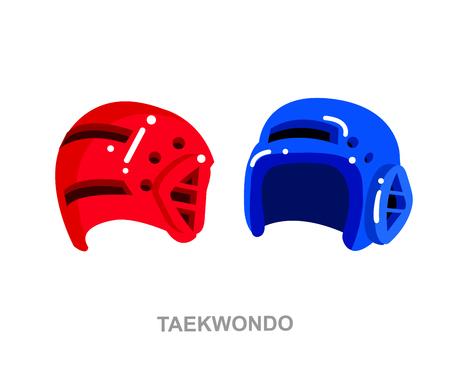 Illustration for martial art poster. Taekwondo training. Vector equipment for Taekwondo. Illustration vector Illustration