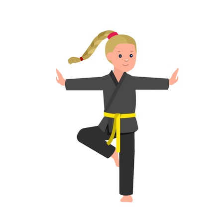 children art: Cute vector character child. Illustration for martial art kung fu poster. Kid wearing kimono and training kung fu. Vector fun child. Illustration of Kid and Sport. Child take kung fu fighting pose
