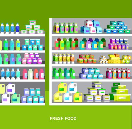 chrome man: Concept illustration for Shop, supermarket. Vector supermarket shelves. Healthy eating and eco food in supermarket. Vector flat illustration for supermarket.