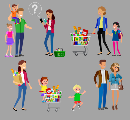 shopping people: Concept banner for Shop, supermarket. Vector character people in supermarket, cart, delivery, family shopping. Healthy eating and eco food in supermarket. Vector flat illustration for supermarket.