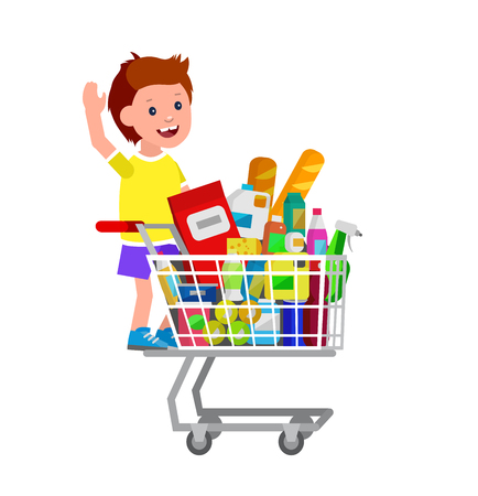 kid shopping: Concept illustration for Shop, supermarket. Vector character kid boy playing, riding supermarket shopping cart. Healthy eating and eco food in supermarket shopping cart