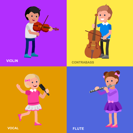 contrabass: Cute vector character child. Happy kid playing on contrabass, singing, playing flute, violin, dancing ballet. Education and child development. Banner for kindergarten, children club or school of Arts