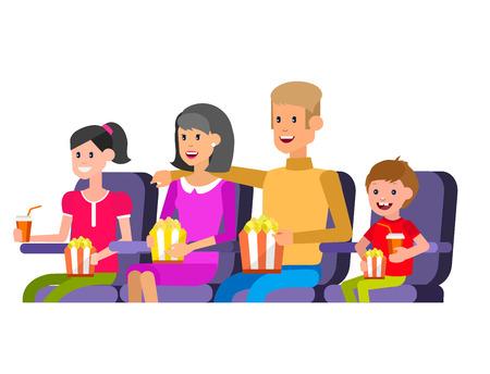 가족 영화 영화 포스터 또는 배너 서식 파일, 팝콘, 3D 안경, 개념 배너. 시네마 홀. 영화관에서 가족과 함께 휴식하십시오. 귀여운 벡터 캐릭터 사람들