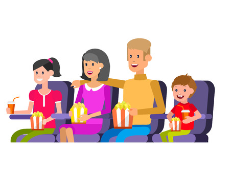 Family Cinema movie poster or banner template, popcorn, 3D glasses, concept banner. Cinema hall. Rest with family in the cinema. Cute vector character people