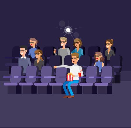 Cinema filmposter of banner sjabloon, popcorn, 3D-bril, concept banner. Cinema hal. Rust in de bioscoop. Cute vector teken mensen