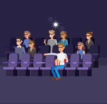 Cinema filmposter of banner sjabloon, popcorn, 3D-bril, concept banner. Cinema hal. Rust in de bioscoop. Cute vector teken mensen
