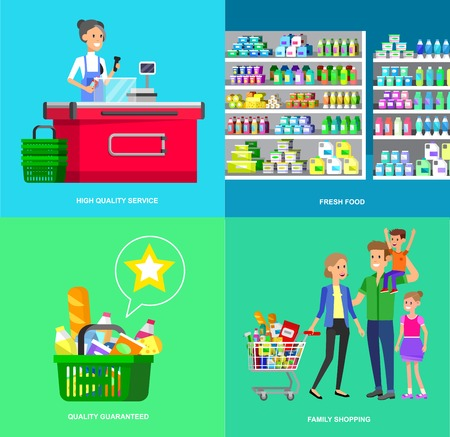 satisfied people: Concept banner for Shop, supermarket. Vector character people in supermarket, cart, delivery, family shopping. Healthy eating and eco food in supermarket. Vector flat illustration for supermarket.
