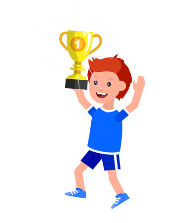 futbol infantil: Cute vector character kid wins a golden cup, kid happy winning celebration. Cheerful child. Happy boy kid illustration. Detailed character child. Vector for fun child. Vectores