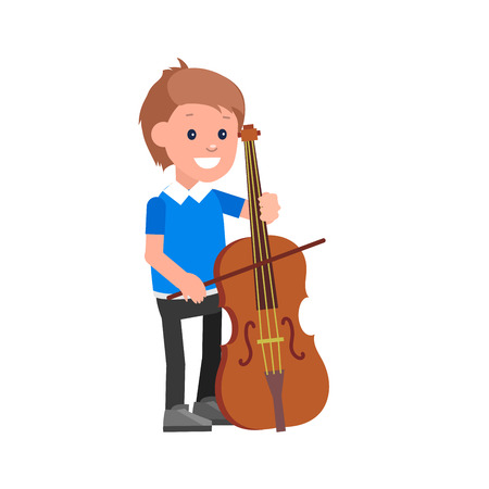 contrabass: Cute vector character child. Happy kid playing on contrabass. Education and child development. Banner for kindergarten, children club or school of Arts, music school