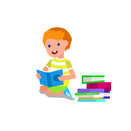 day book: Cute vector character child. Happy kid illustration reading book. Education and child development. Banner for the kindergarten or children club, school of Arts