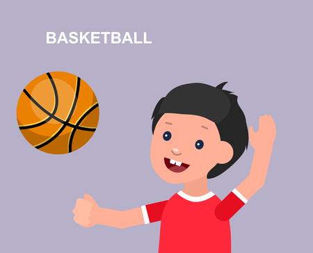 futbol infantil: Carácter lindo del vector niño que juega al baloncesto, niño corre. El niño alegre. Ilustración feliz niño chico. niño carácter detallada. Ilustración feliz niño chico. niño carácter detallada