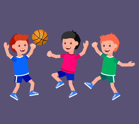 futbol infantil: Cute vector character child playing basketball, child runs. Cheerful child. Happy boy kid illustration. Detailed character child. Happy boy kid illustration. Detailed character child Vectores