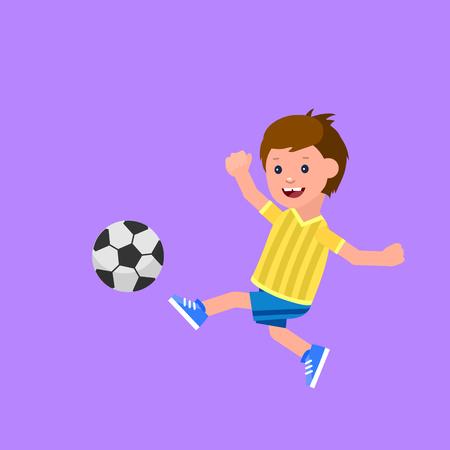 Cute wektora znaków dziecko gry w piłkę nożną. Wesoły dzieciak. Chłopiec szczęśliwy ilustracji. Szczegółowe dziecko. Vector dla dzieci Celebration dzień, dziecko zabawy.