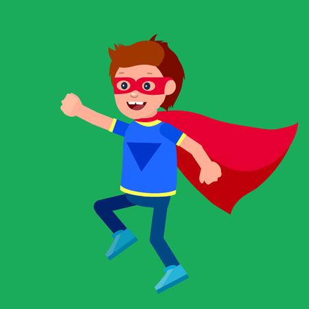 Bambino sveglio carattere vettoriale. bambino supereroe. illustrazione bambino felice. bambino carattere dettagliata. Super Kids eroe che giocano, volano, Super bambini in azione. Vector divertimento bambino. Archivio Fotografico - 57897732