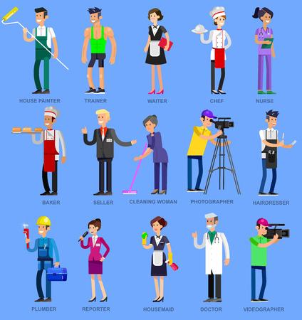 profesiones: personas profesión. profesionales de carácter detallado. Ilustración de hombres de carácter profesión. Vector Profesión plana personas
