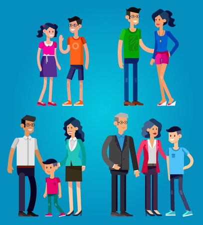life stages: Detailed character people. Stages of life of family, young couple, childhood friendship, first date, family with baby, old parents and adult son. Vector family character. Illustration family people