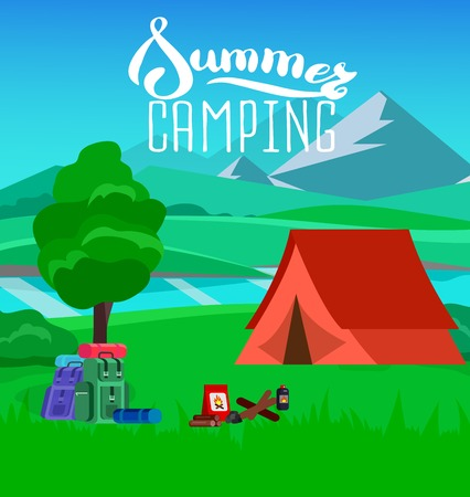 romance bed: summer camping with landscape. Morning landscape in the mountains. Solitude in nature by the river. Camping Weekend in the tent. Hiking and camping. Vector camping flat illustration