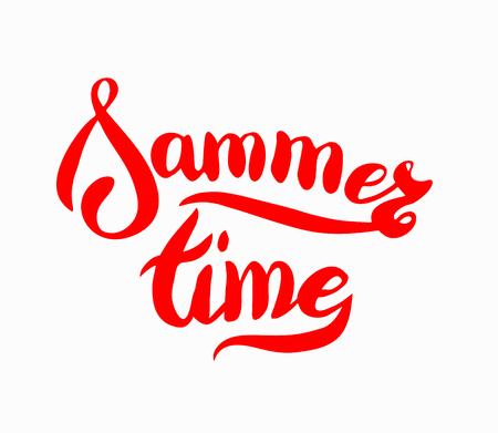 Words sammer time, brush lettering sammer poster. Vector sammer illustration