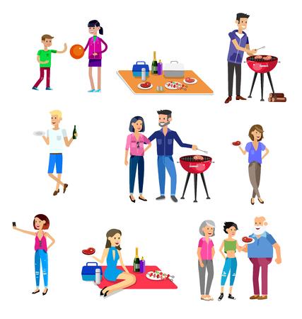 Personas de carácter vectorial de la familia de picnic o una fiesta de barbacoa. Alimentos y barbacoa, verano y parrilla. Vector parrilla partido, la ilustración de la barbacoa del partido Ilustración de vector