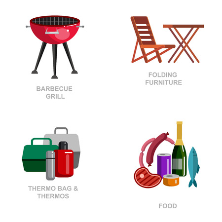 foldable: Camping and barbecue object. Camping Weekend and barbecue party and picnic icons. Hiking, barbecue and camping object. Vector barbecue, camping and BBQ flat illustration
