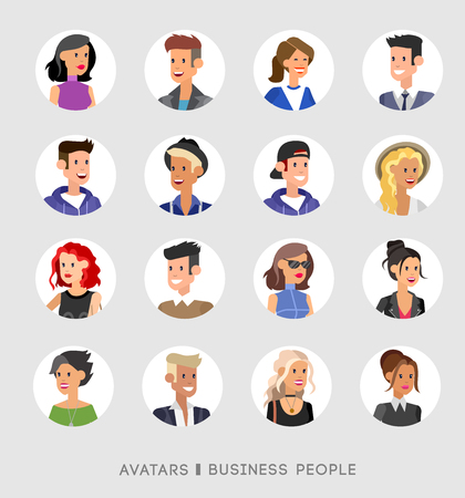 cartoon: Cute cartoon human avatars set, big male and female faces collection. Vector detailed characters avatars people, business people avatars, men and women avatars. Business people avatars Illustration